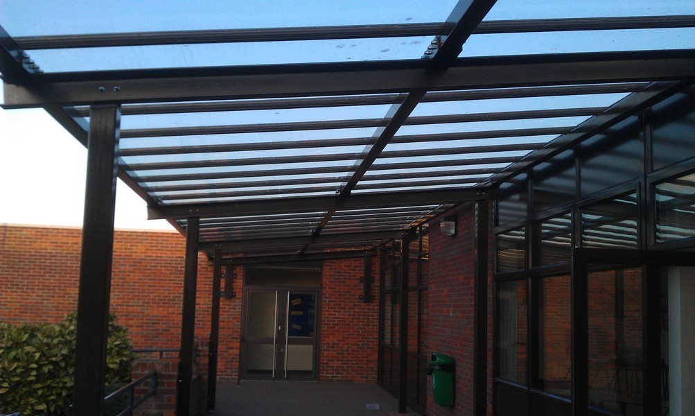 design supply and installation of steel frame and glazed canopy